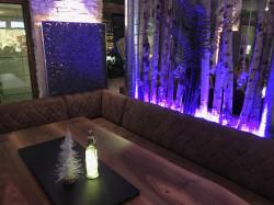 Lounge mit Nussbaumtisch